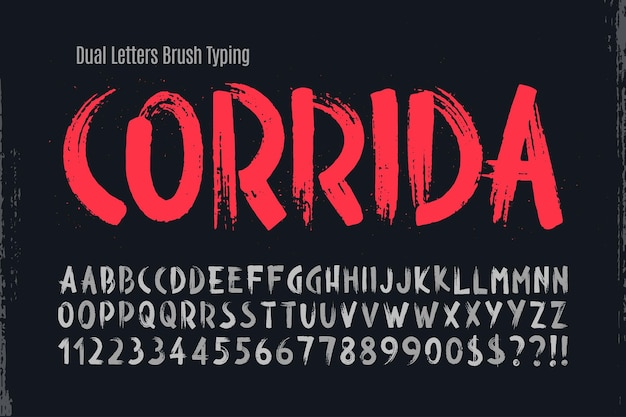 Stylish brush painted an uppercase dual letters alphabet typeface original texture