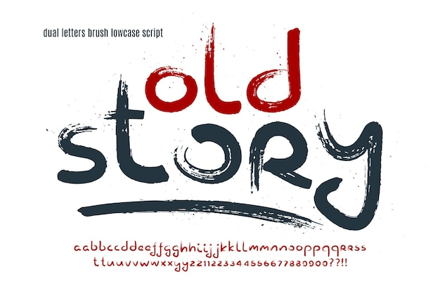 Stylish brush painted an uppercase vector dual letters, alphabet, typeface. original texture.