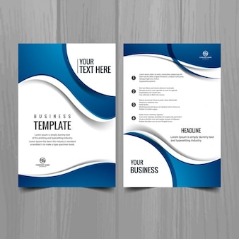 Stylish business brochure with blue waves