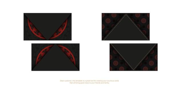 Стильные визитки с местом для текста и винтажными орнаментами. шаблон для полиграфического дизайна визиток в черном цвете с красным орнаментом мандалы.