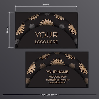 Stylish business cards with luxurious patterns ready-to-print black business card design with greek patterns.