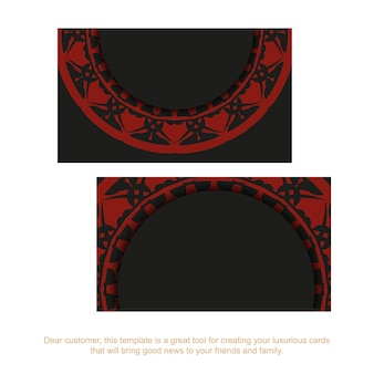 Стильные визитки с пространством для текста и старинными узорами. черный дизайн для печати с красными узорами мандалы.