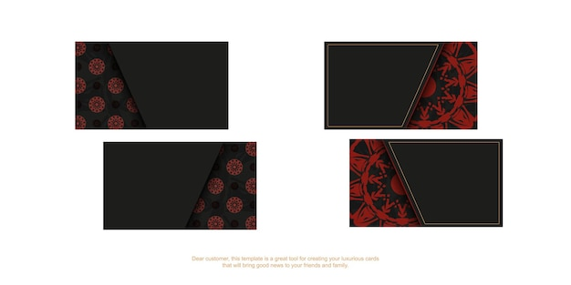 Стильные визитки с местом для текста и старинными узорами. вектор готовый к печати черный дизайн визитной карточки с красными узорами мандалы.