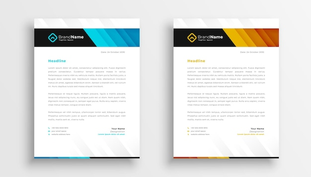 Stylish business letterhead templates set