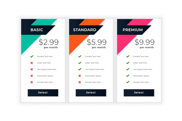 Stylish business pricing table template