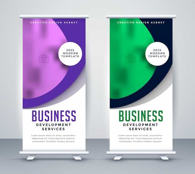 Stylish business roll up banner template design