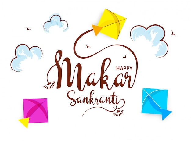 Stylish calligraphy of makar sankranti