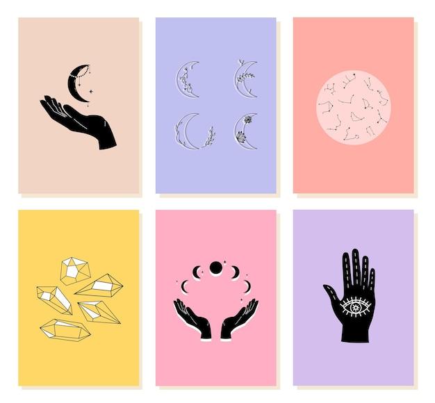 Стильная открытка с магическими элементами для астрологии, гадания в модном современном стиле рисованной
