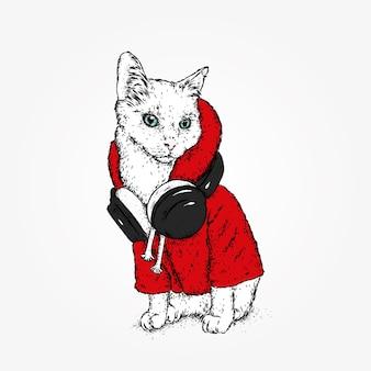 Stylish cat with headphones.