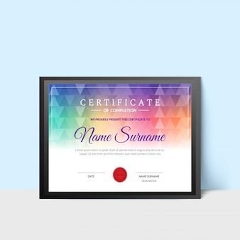 Stylish certificate of completion award template.