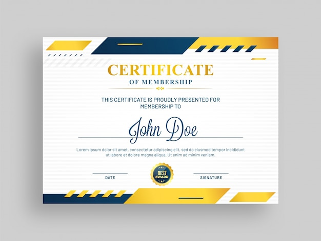 Stylish certificate of membership.