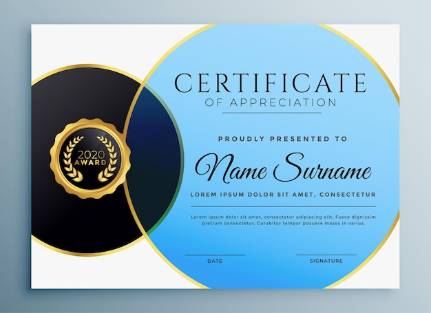 Stylish certificate template in circle style