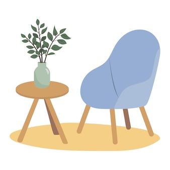 세련된 의자, 꽃병과 꽃 식물이있는 테이블. 현대 스칸디나비아 디자인.