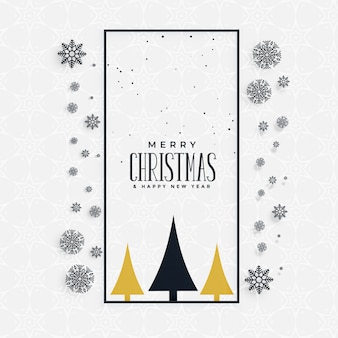 Stylish christmas greeting with snowflakes and tree
