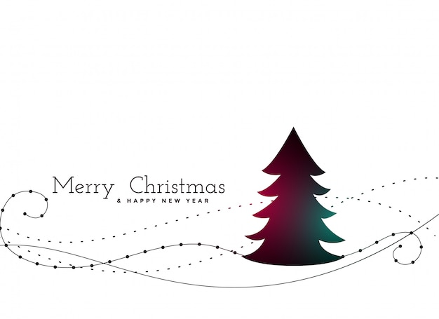 Stylish christmas tree with swirl lines background