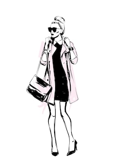Stylish coat. stylish look. clothes and accessories. vector illustration.