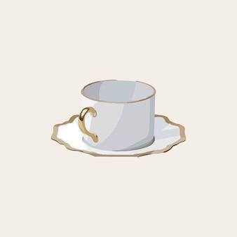 プレート付きのスタイリッシュなコーヒーカップ