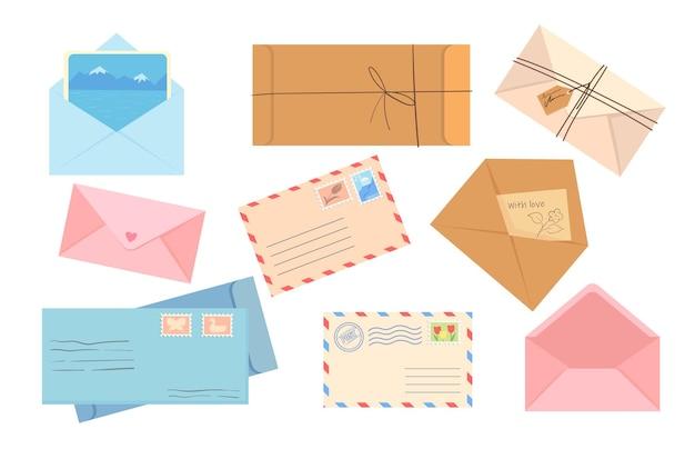 さまざまな封筒のフラットなイラストのスタイリッシュなコレクション