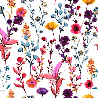 Stylish colorful blooming many kind of wild flowers from hand drawn marker pen and ink sketch seamless pattern in vector, design for fashion, fabric, wallpaper, wrapping, modern style