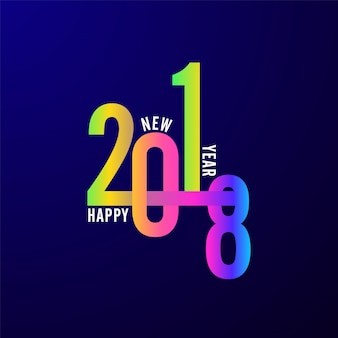 Stylish colorful text Happy New Year 2018 on blue background.