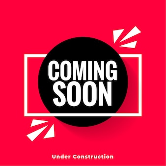 Stylish coming soon red background in modern style