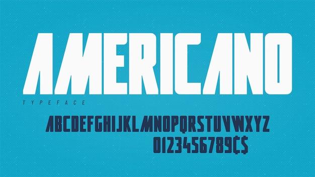 Stylish condensed headline typeface, alphabet, font.