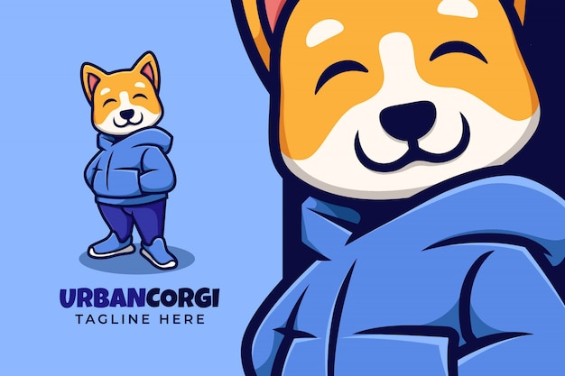 Stylish corgi dog logo illustration