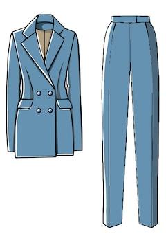 女の子のためのズボンとジャケットのスタイリッシュな衣装