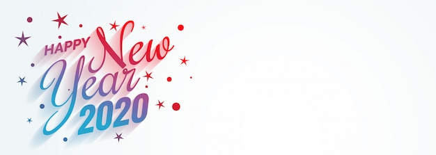 Stylish creative happy new year 2020 banner