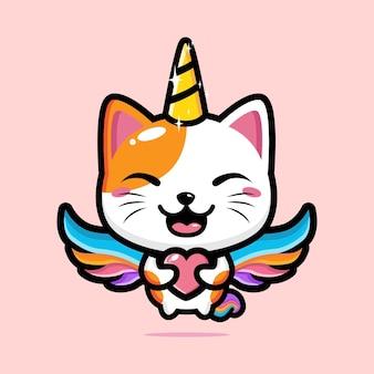 유니콘으로 세련된 귀여운 고양이