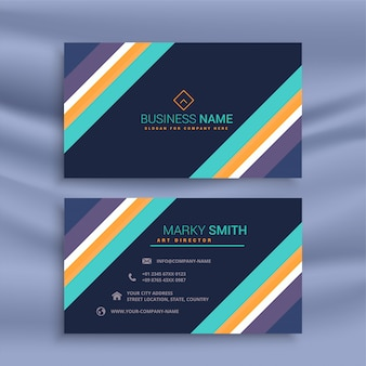 Stylish dark business card with diagonal lines