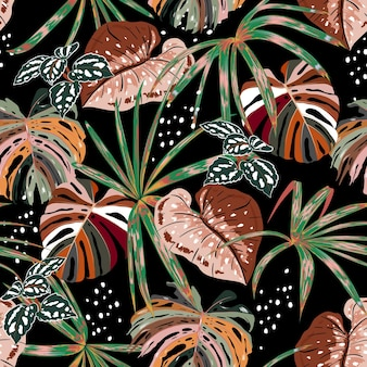 Stylish dark seamless pattern of hand drawntropical forest with many kind of exotic plants and leaves in  brush style,design for fashion fabric,web,wallpaper,and all prints on black