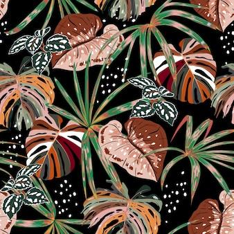 手描きのスタイリッシュなダークシームレスパターン多くの種類のエキゾチックな植物とブラシスタイルの葉を持つ熱帯林、ファッションファブリック、ウェブ、壁紙、およびすべての黒のプリントのデザイン