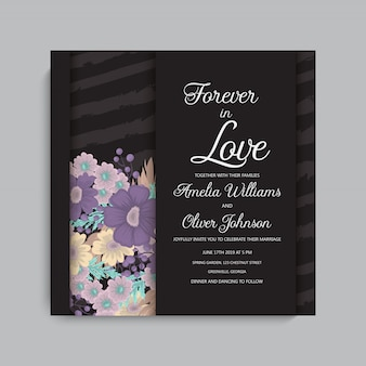 Stylish dark wedding frame with flowers.