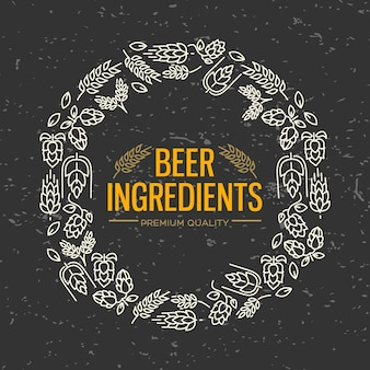 Стильная фигурная рамка с белыми значками цветов, веточка хмеля, цветение, солод вокруг текста, ингредиенты пива в центре на черном