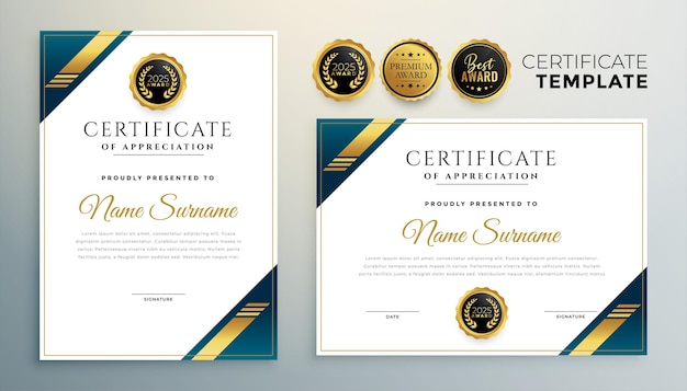 Elegante modello multiuso di certificato di diploma in stile dorato premium
