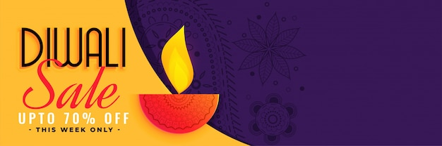 Stylish diwali sale banner with text space