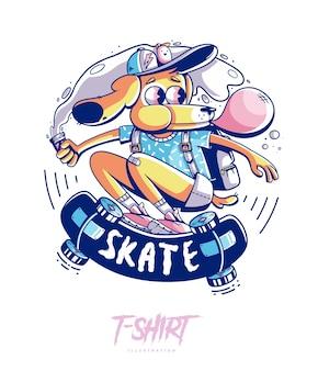 スタイリッシュな犬のスケーターのイラストと t シャツのデザイン