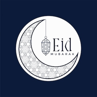 Stylish eid mubarak festival design with moon and lamp