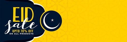 Stylish eid sale banner with copyspace
