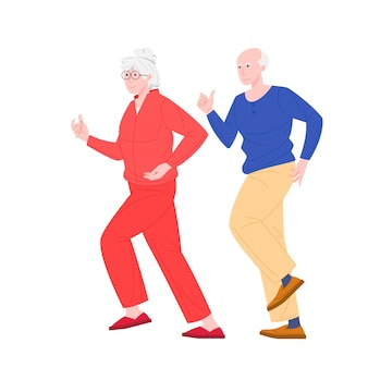 Stylish elderly running couple illustration
