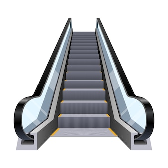 Stylish escalator design illustration isolated on white background