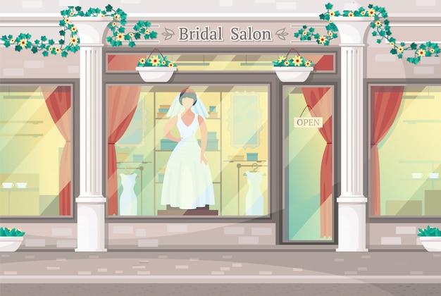 신부 살롱의 흰색 기둥이있는 세련된 외관, vitrine의 웨딩 드레스 모델