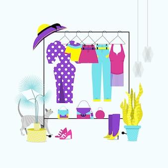 ハンガーに掛かっているスタイリッシュなファッションの服。組織された女性の夏のワードローブ。衣類の保管。フラットベクトルイラスト。