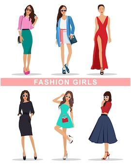 Стильные модные девушки с аксессуарами. модная женская одежда. набор красивых девушек. иллюстрация.