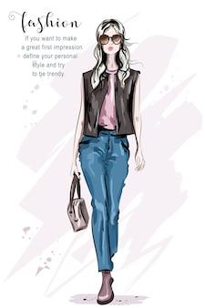 スタイリッシュなファッションの女性のイラスト