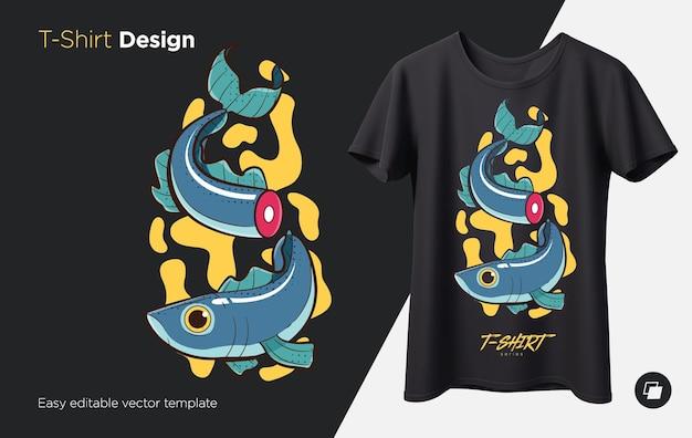 携帯電話のお土産用のtシャツスウェットシャツケースにスタイリッシュな魚のプリント