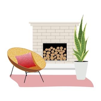 벽난로 옆에 안락 의자가있는 세련된 평면 인테리어. 평면 디자인. 스칸디나비아 인테리어, 미니멀리즘.
