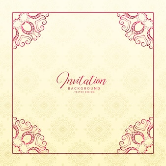Stylish floral border frame invitation background