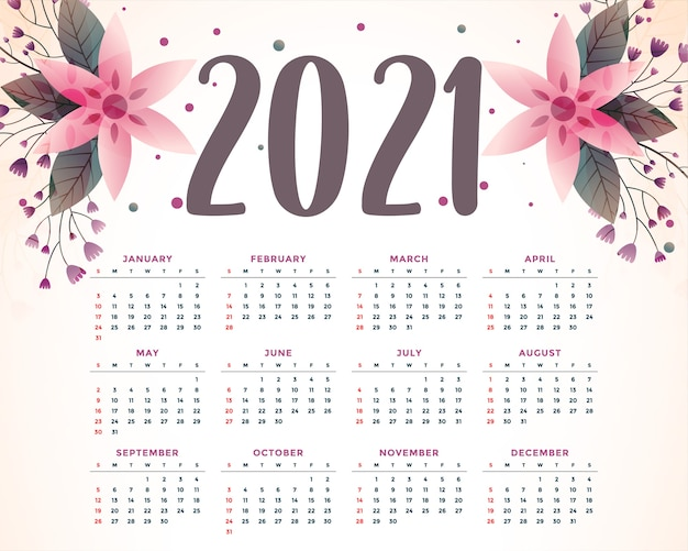 Stylish flower decorative 2021 calendar template